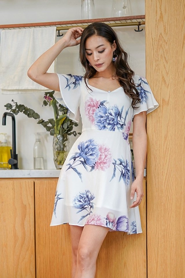 KEATHER SWEETHEART FLORAL BUTTON DRESS #MADEBYLOVET (WHITE)