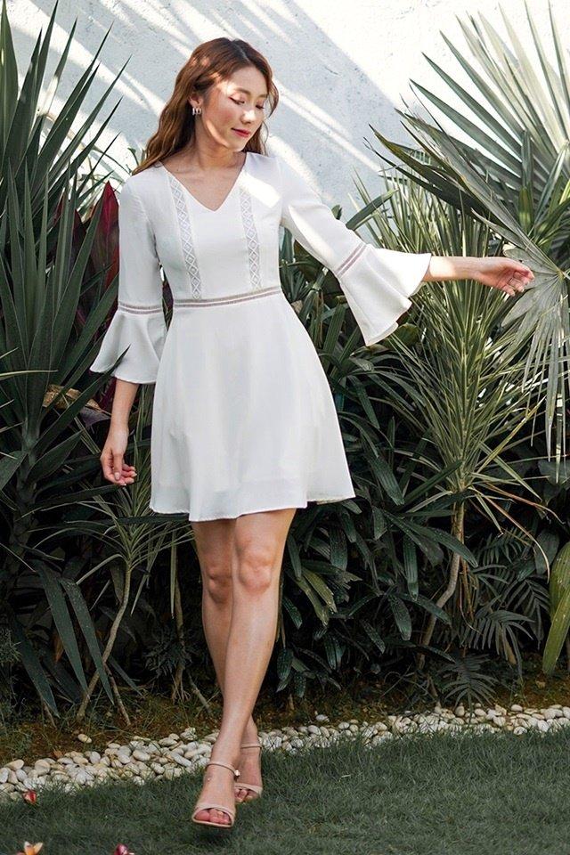 LISELLA EYELET BELL SLEEVE DRESS #MONGXLOVET (WHITE) *RESTOCKED*