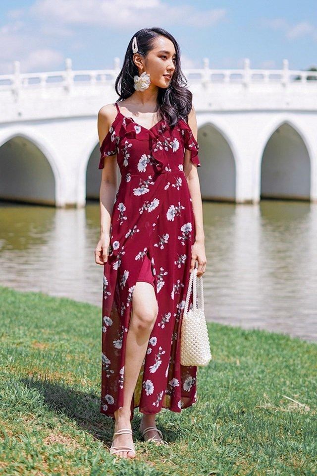 CASSIDY FLORAL DROP-SHOULDER MAXI SLIT DRESS #MADEBYLOVET (WINE)