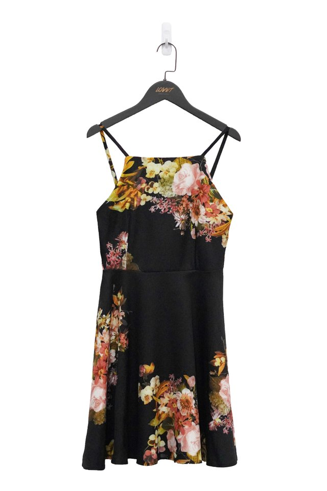 FLORA MAGIC SKATER DRESS (BLACK)