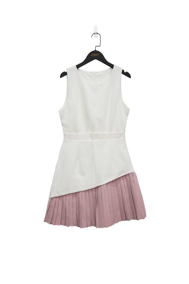BLAIRE DUO COLOURBLOCK PLEATED DRESS (WHITE)