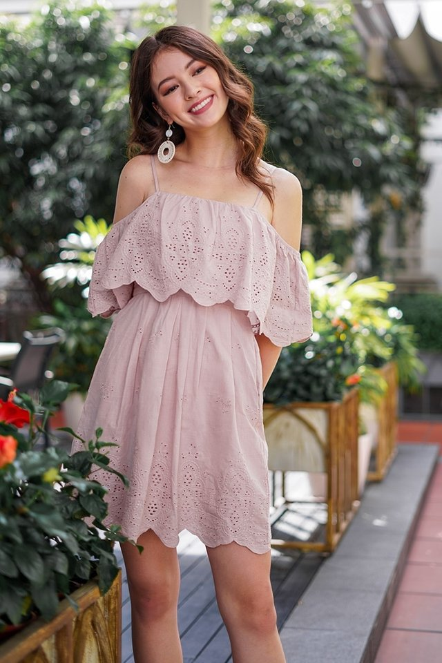 JOVIE DROP-SHOULDER EYELET DRESS #MADEBYLOVET (DUSTY PINK)