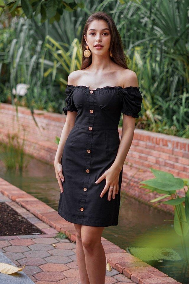 RYLIE 2-WAY LINEN BUTTON PENCIL DRESS #MADEBYLOVET (BLACK) *RESTOCKED*