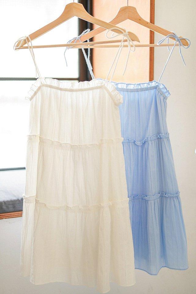 YUNA TEXTURED TIE-STRING TIERED DRESS #MADEBYLOVET (WHITE)