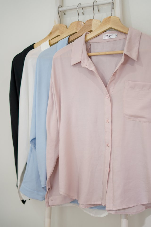 ABELE BUTTON SLOUCHY SHIRT #MADEBYLOVET (DUSTY PINK)