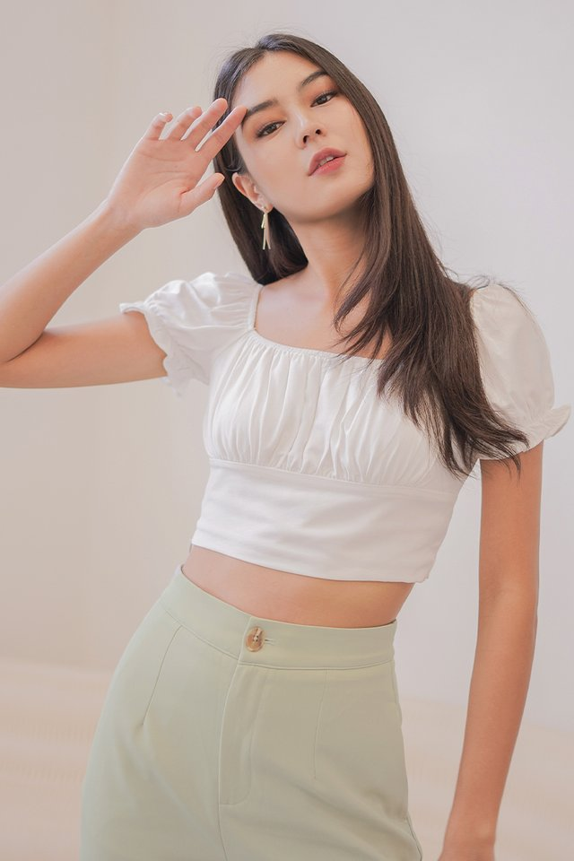 VANESS 2-WAY RUCHED CROP TOP #MADEBYLOVET (WHITE)
