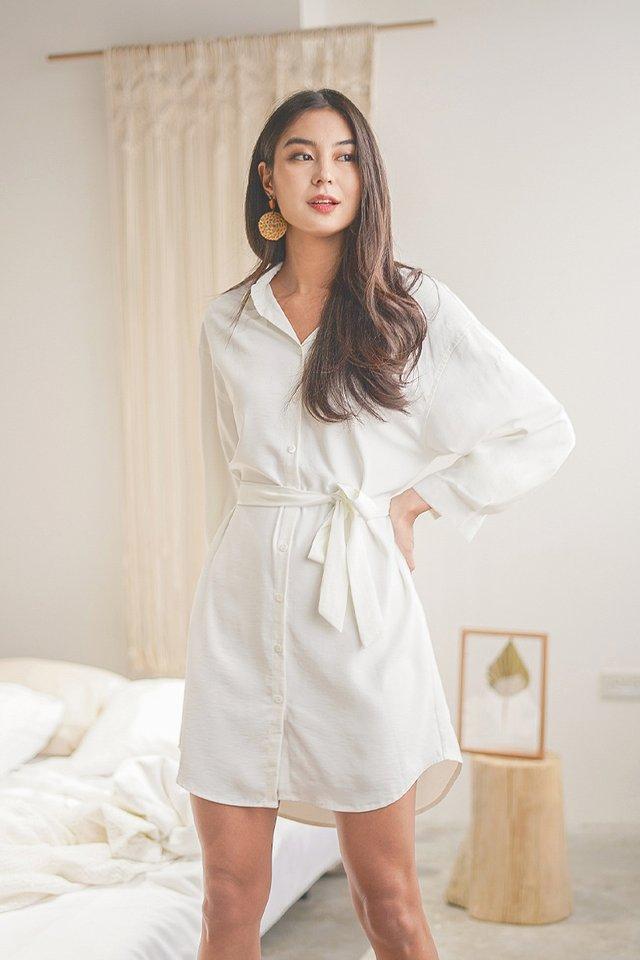 AVRIL BOYFRIEND SHIRT DRESS #MADEBYLOVET (WHITE)