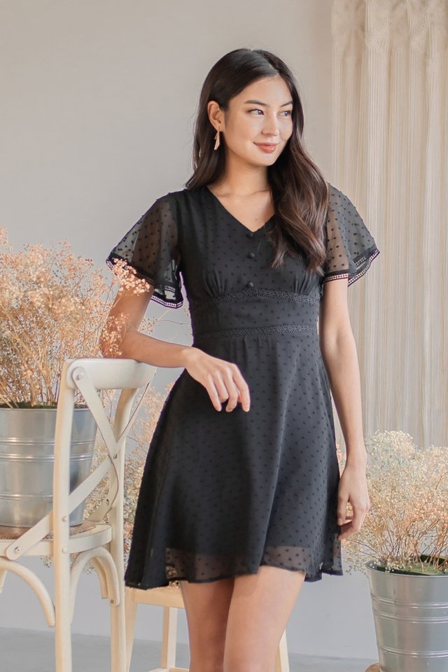 CHERLYN SWISS DOT FLUTTER SLEEVE DRESS #MADEBYLOVET (BLACK)