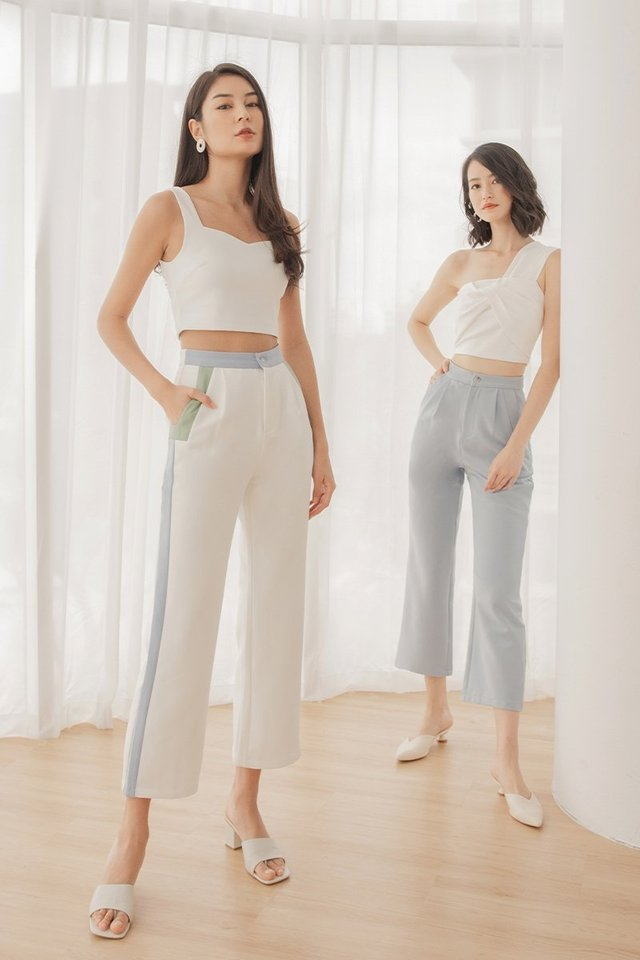 LEIGHTON COLOURBLOCK CONTRAST PANTS #MADEBYLOVET (WHITE) *RESTOCKED*