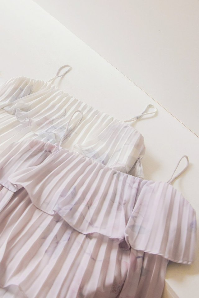 XYLIA TIERED PLEATED FLORAL TOP #MADEBYLOVET (LILAC BLUSH)