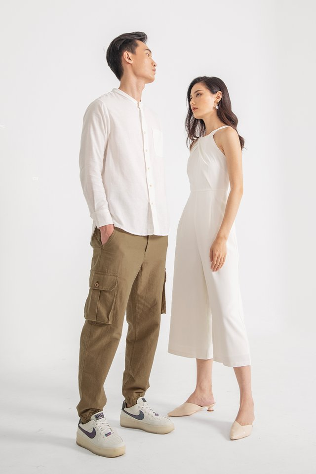 DYLAN MANDARIN COLLAR SHIRT #MADEBYLOVET (WHITE)