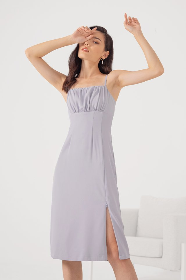 ASTERIA RUCHED SLIT MIDI DRESS #MADEBYLOVET (LAVENDER) *RESTOCKED*