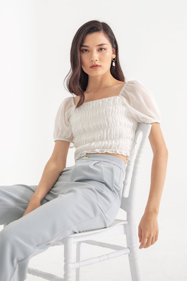 SOLACE 2-WAY SMOCKED TOP #MADEBYLOVET (WHITE)