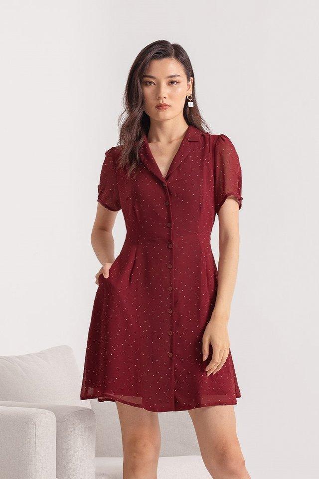 JOBELLE POLKA DOT DRESS #MADEBYLOVET (WINE)