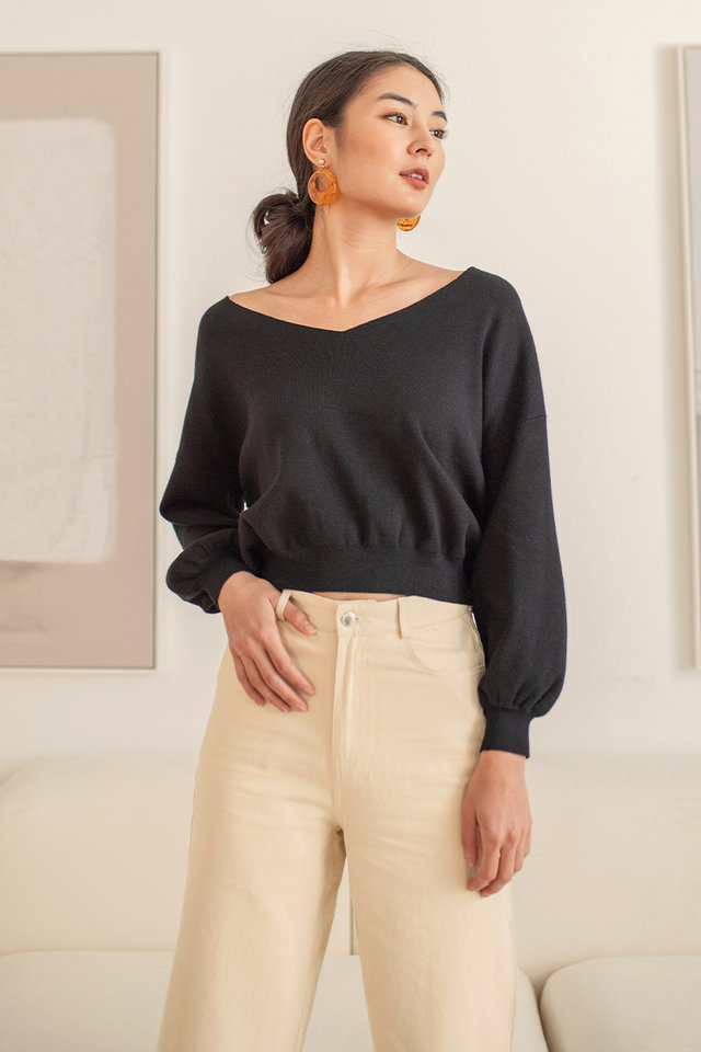 NOEMI SLOUCHY PULLOVER KNIT TOP #MADEBYLOVET (BLACK)