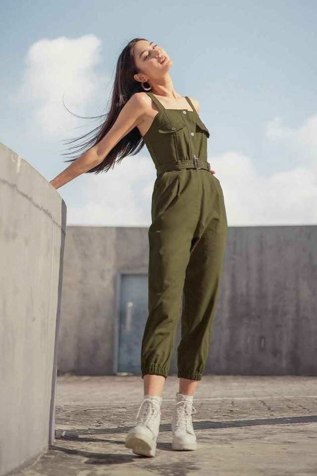 JUNO BELTED CARGO DUNGAREE #MADEBYLOVET (MILITARY GREEN)
