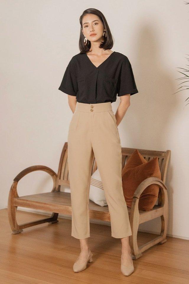EDNA DOUBLE BUTTON PANTS #MADEBYLOVET (KHAKI)