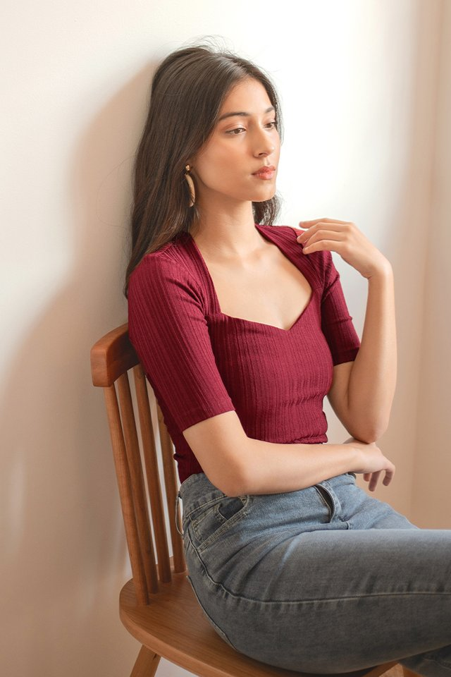 JAZE SWEETHEART RIBBED TOP #MADEBYLOVET (RUBY WINE)