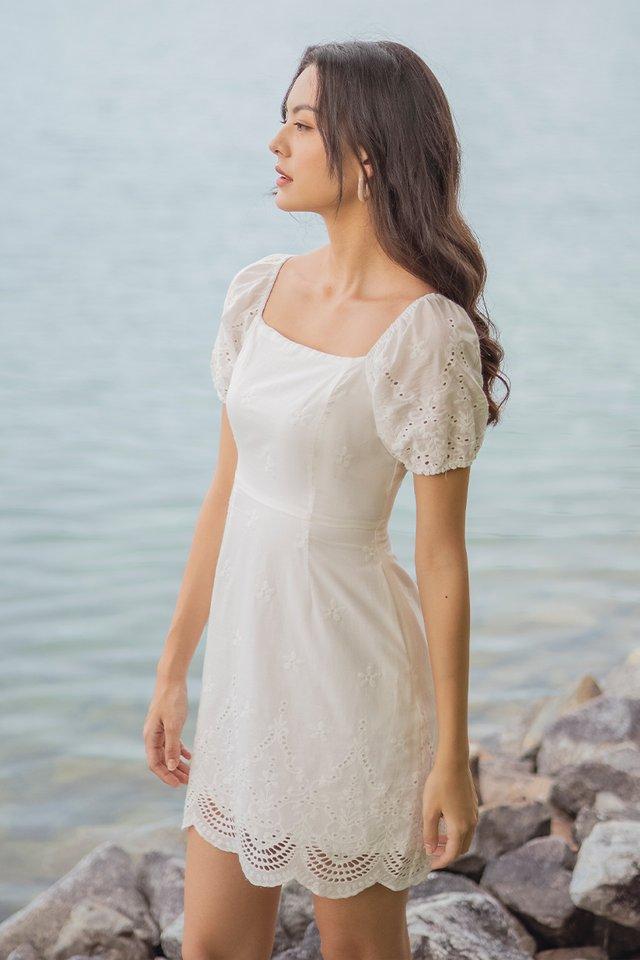 VALNICE EYELET EMBROIDERY DRESS #MADEBYLOVET (WHITE)