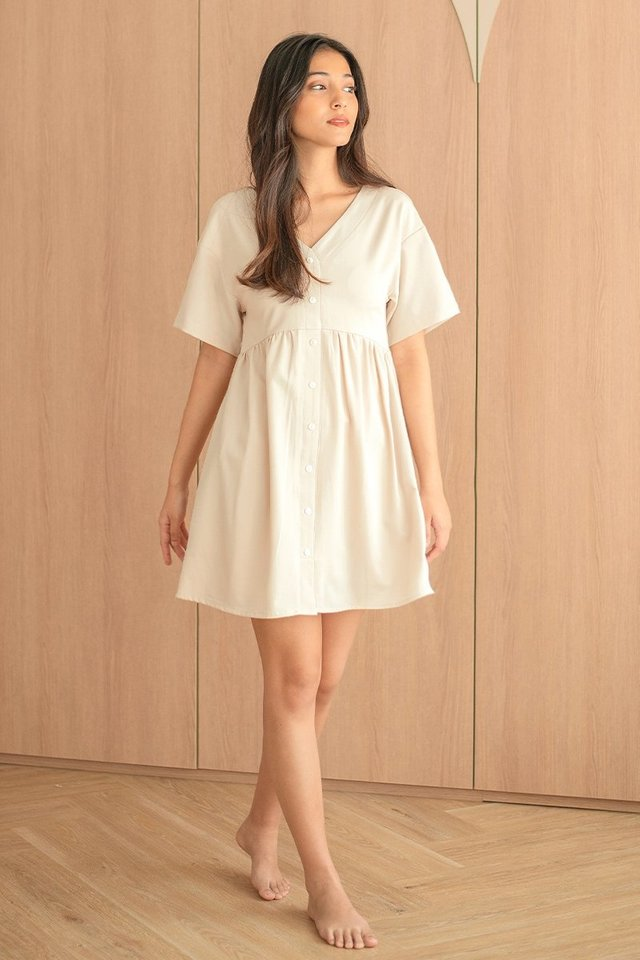 AUDREY BUTTON BABYDOLL DRESS #MADEBYLOVET (SAND)