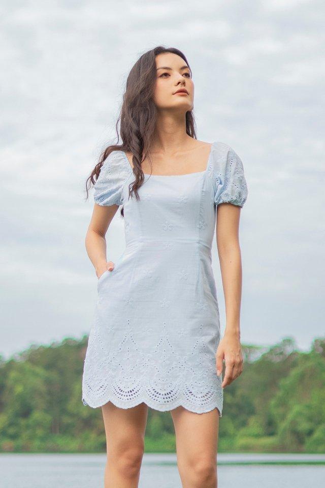 VALNICE EYELET EMBROIDERY DRESS #MADEBYLOVET (LIGHT BLUE)