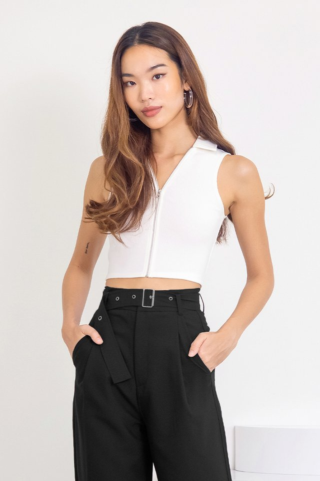 RUE COLLAR ZIPPER RIBBED TOP #MADEBYLOVET (WHITE)
