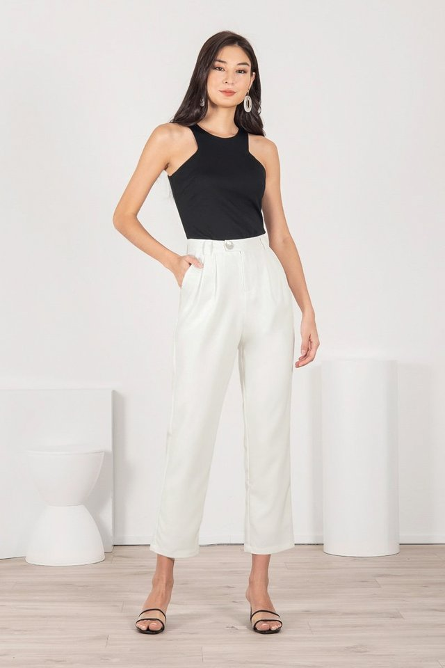 FENIX HOLOGRAPHIC SHELL BUTTON TAPERED PANTS #MADEBYLOVET (WHITE)