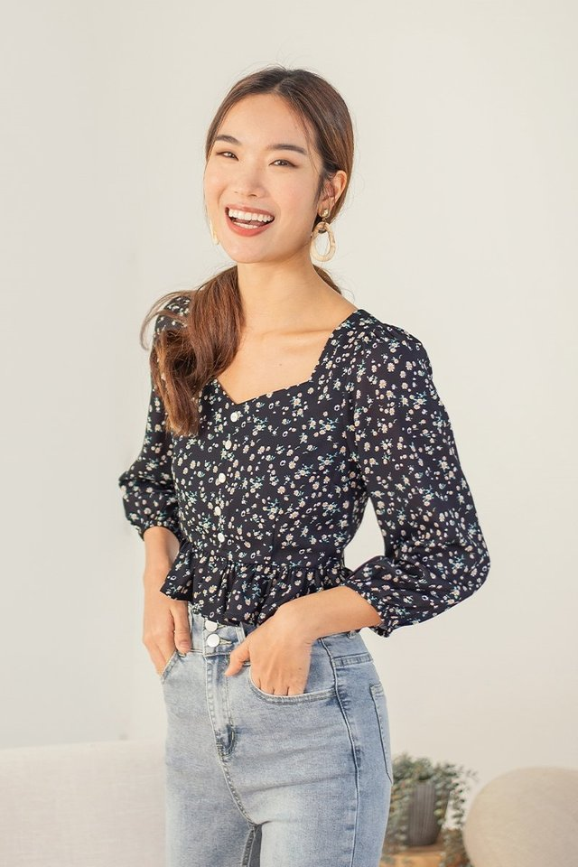 KAESSIE FLORAL BABYDOLL TOP #MADEBYLOVET (MIDNIGHT BLUE)