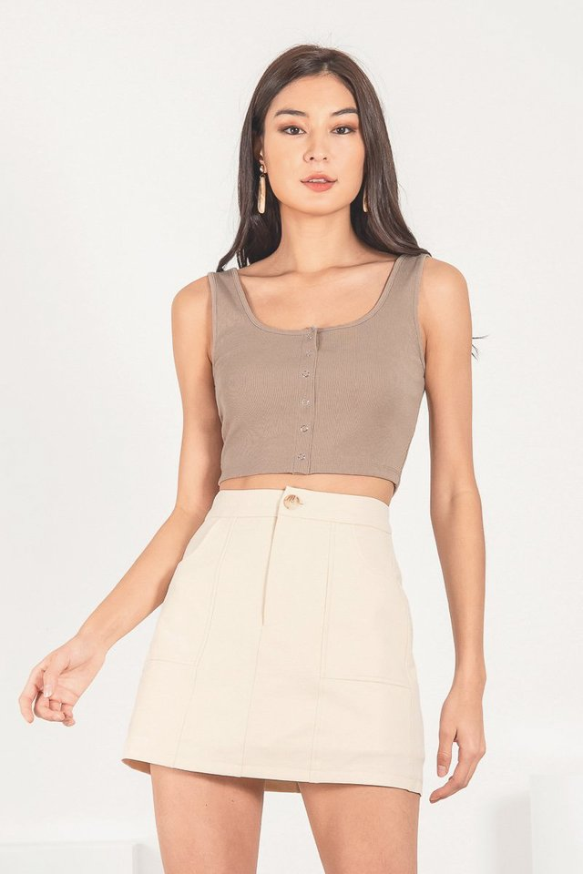 AEMI SNAP BUTTON RIBBED TOP #MADEBYLOVET (TAUPE)