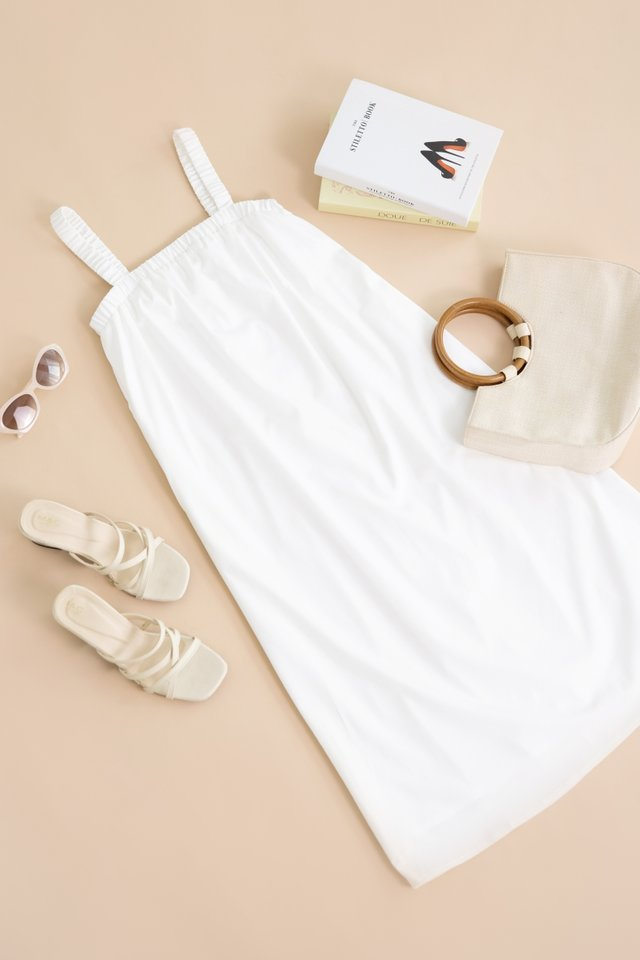 ALYVIA ELASTIC TENT DRESS #MADEBYLOVET (WHITE)