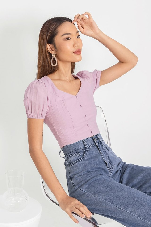 MILEY TEXTURED SLEEVE BUTTON TOP #MADEBYLOVET (LILAC)