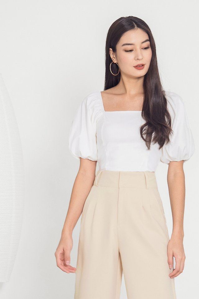 VIVIENNE BUBBLE SLEEVE TOP #MADEBYLOVET (WHITE)