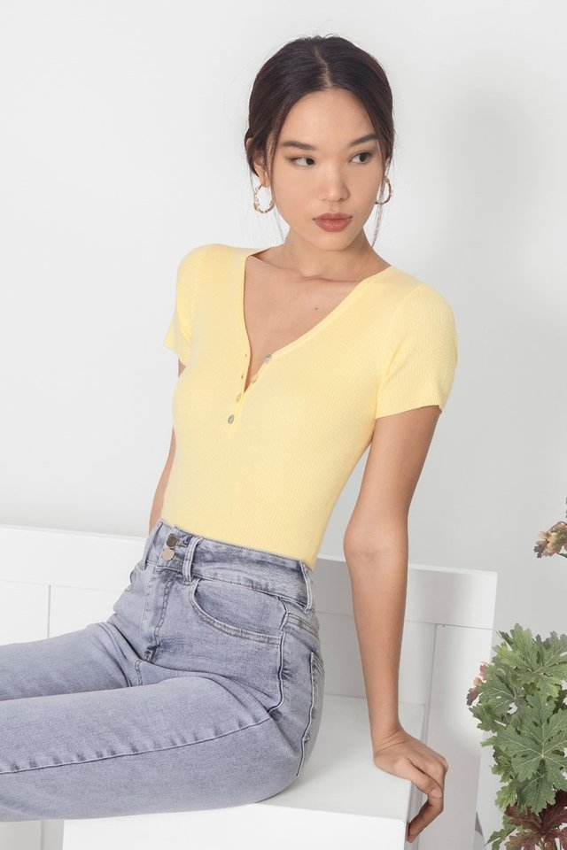 LEXA BUTTON RIBBED TOP #MADEBYLOVET (DAFFODIL)