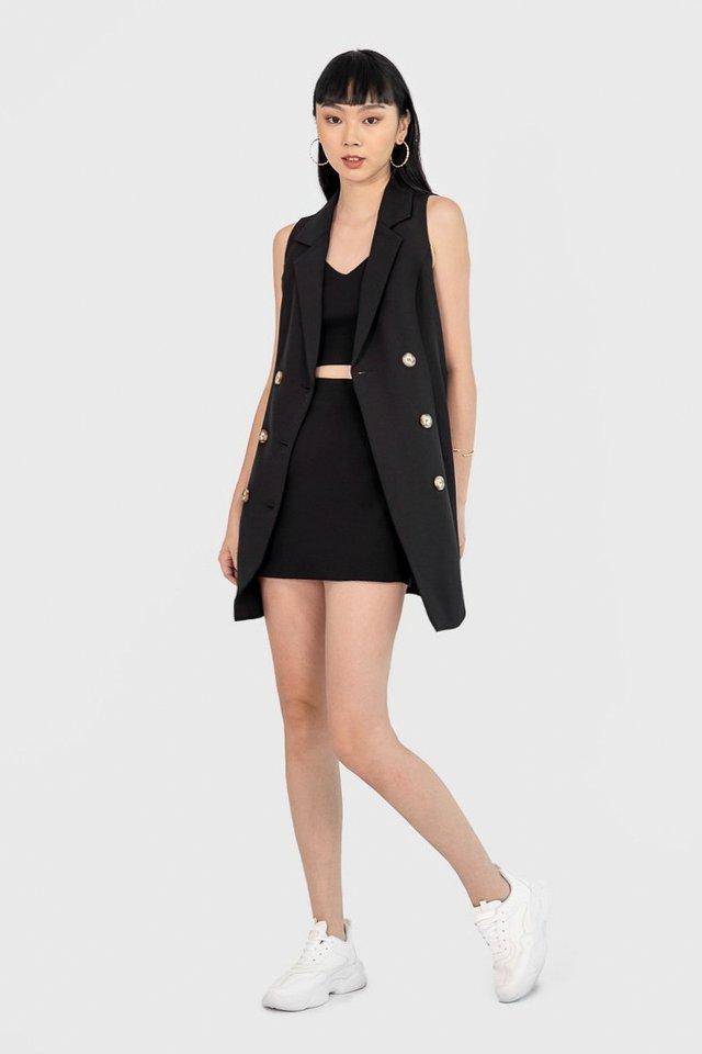 NATALIE BUTTON VEST DRESS #MADEBYLOVET (BLACK)