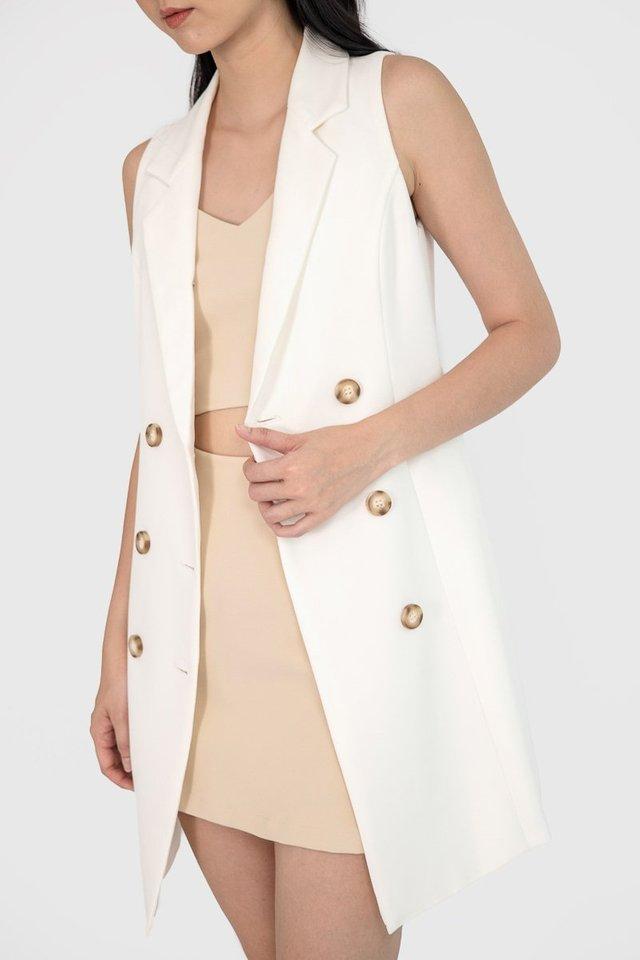 NATALIE BUTTON VEST DRESS #MADEBYLOVET (WHITE)