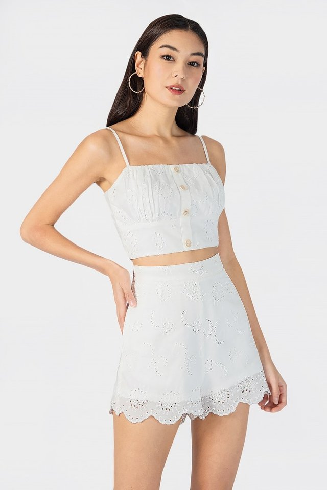 Madelyn Button Eyelet Top (White)