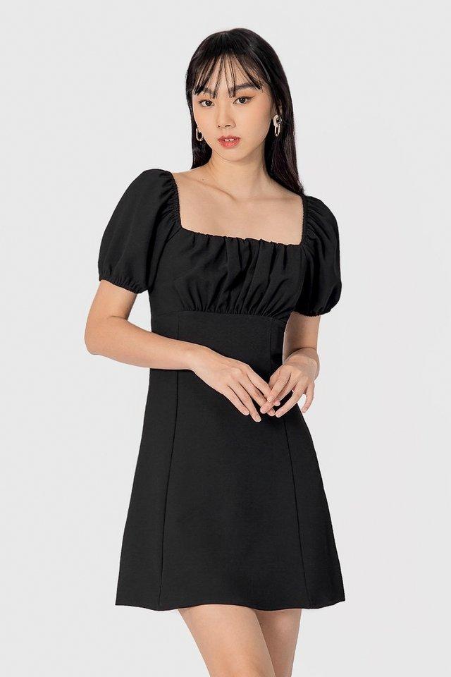 ASTREA 2-WAY RUCHED DRESS #MADEBYLOVET (BLACK)
