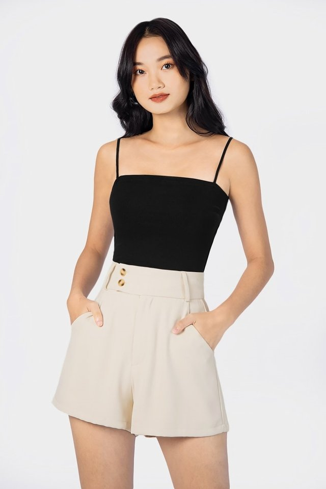 AELLYN RIBBED CAMI TOP #MADEBYLOVET (BLACK)