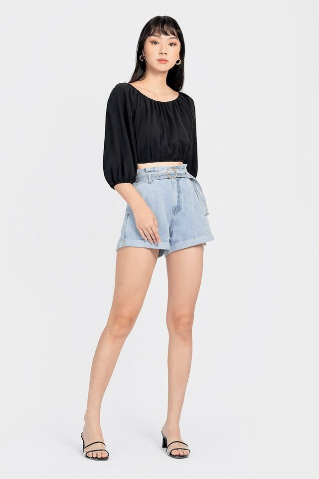CONSTANCE 2-WAY DREAMY RUCHED TOP #MADEBYLOVET (BLACK)