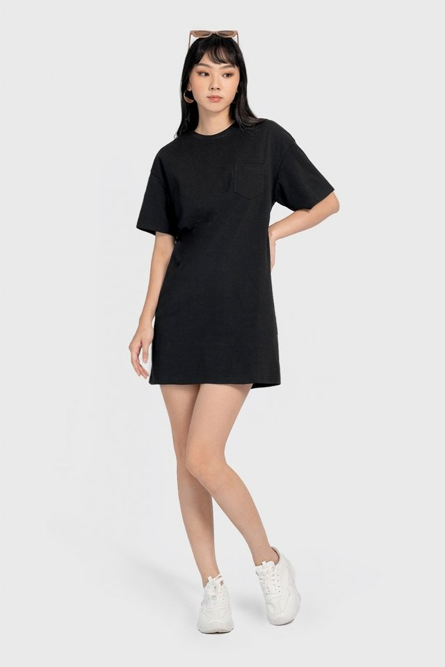GERALDINE BOXY POCKET T-SHIRT DRESS #MADEBYLOVET (BLACK)