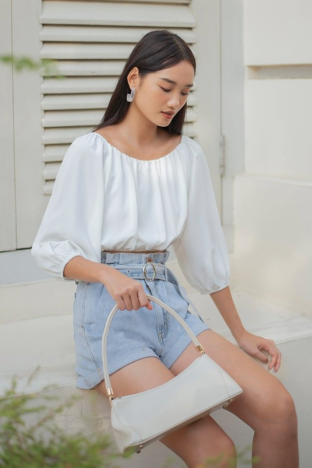 CONSTANCE 2-WAY DREAMY RUCHED TOP #MADEBYLOVET (WHITE)