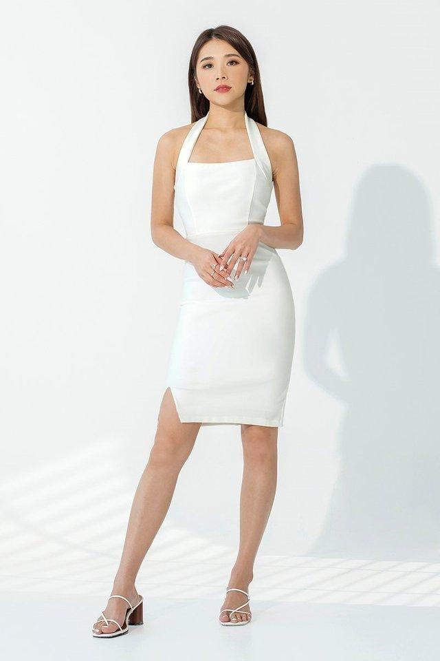 NATALIA HALTER DRESS #MONGXLOVET (WHITE)