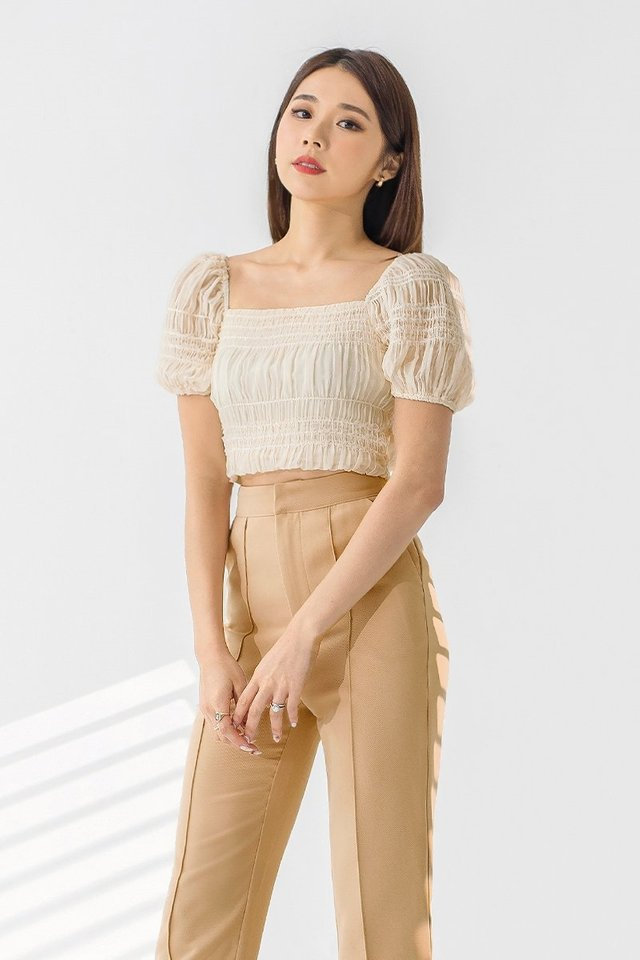 AVERY SEQUIN RUCHED TOP #MONGXLOVET (CHAMPAGNE CREAM)