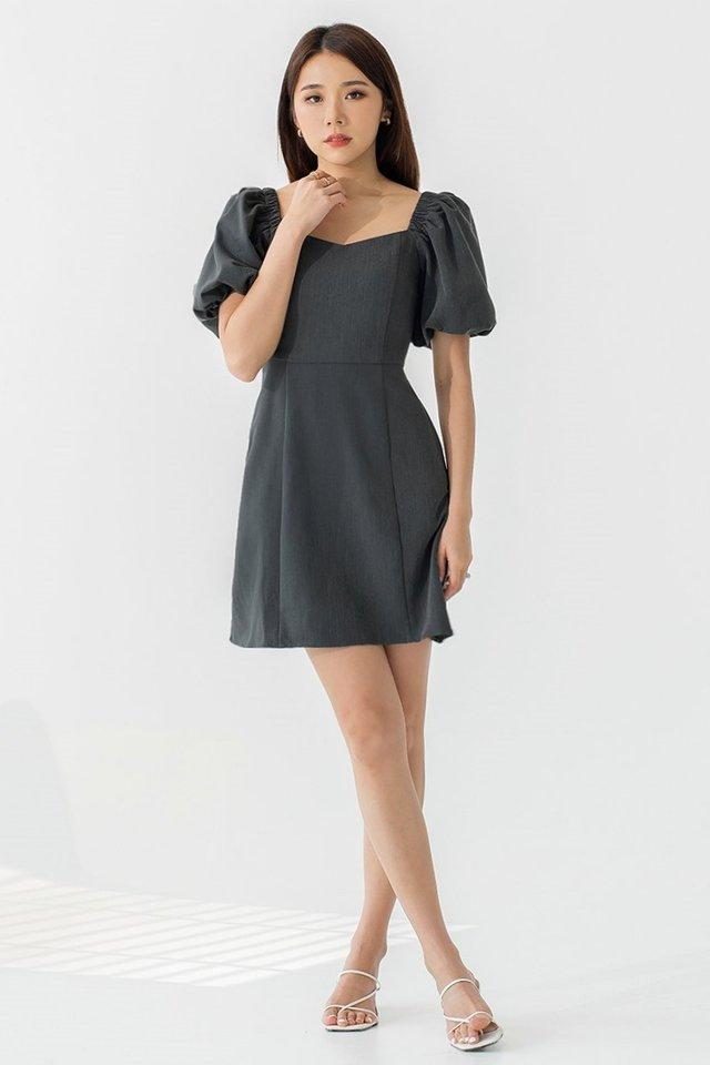 NAOMI BUBBLE SLEEVE DRESS #MONGXLOVET (HEATHER GREY) *BACKORDER*