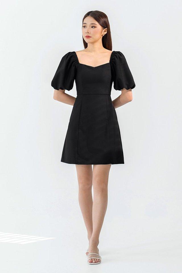 NAOMI BUBBLE SLEEVE DRESS #MONGXLOVET (BLACK)
