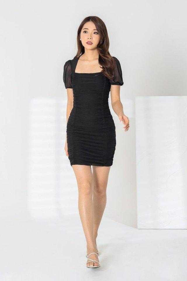 REMI MESH RUCHED DRESS #MONGXLOVET (BLACK) *BACKORDER*