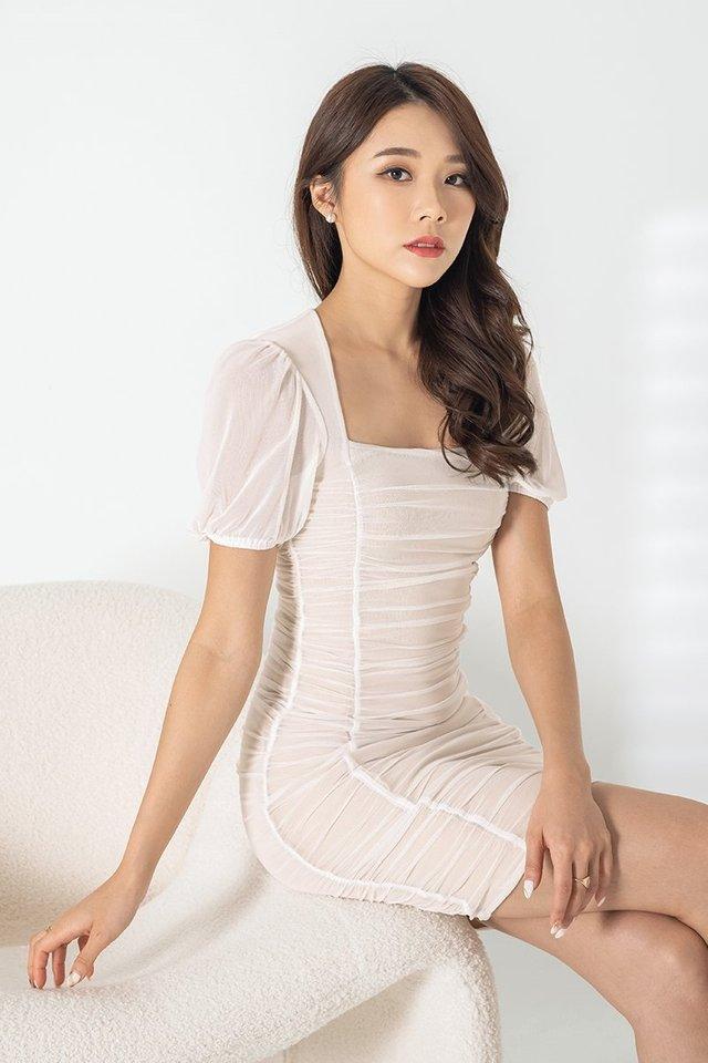 REMI MESH RUCHED DRESS #MONGXLOVET (WHITE)