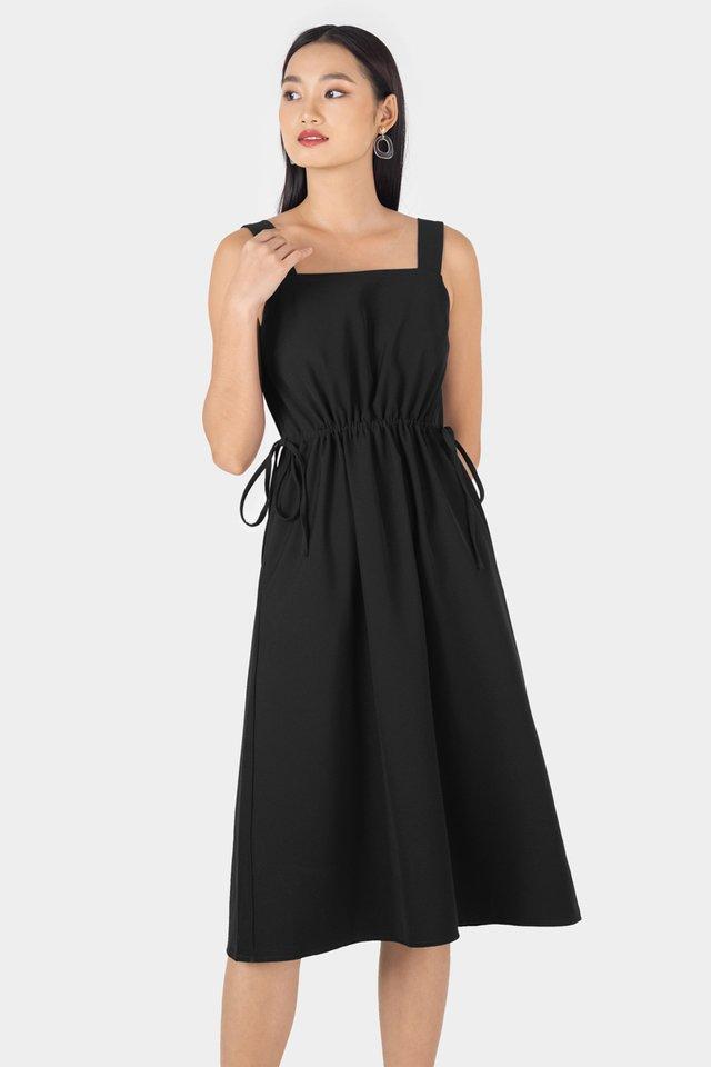 HANA SQUARE NECK DRAWSTRING DRESS #MADEBYLOVET (BLACK)