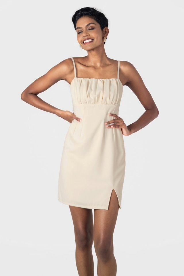 ASTERIA RUCHED SLIT MINI DRESS #MADEBYLOVET (CREAM)