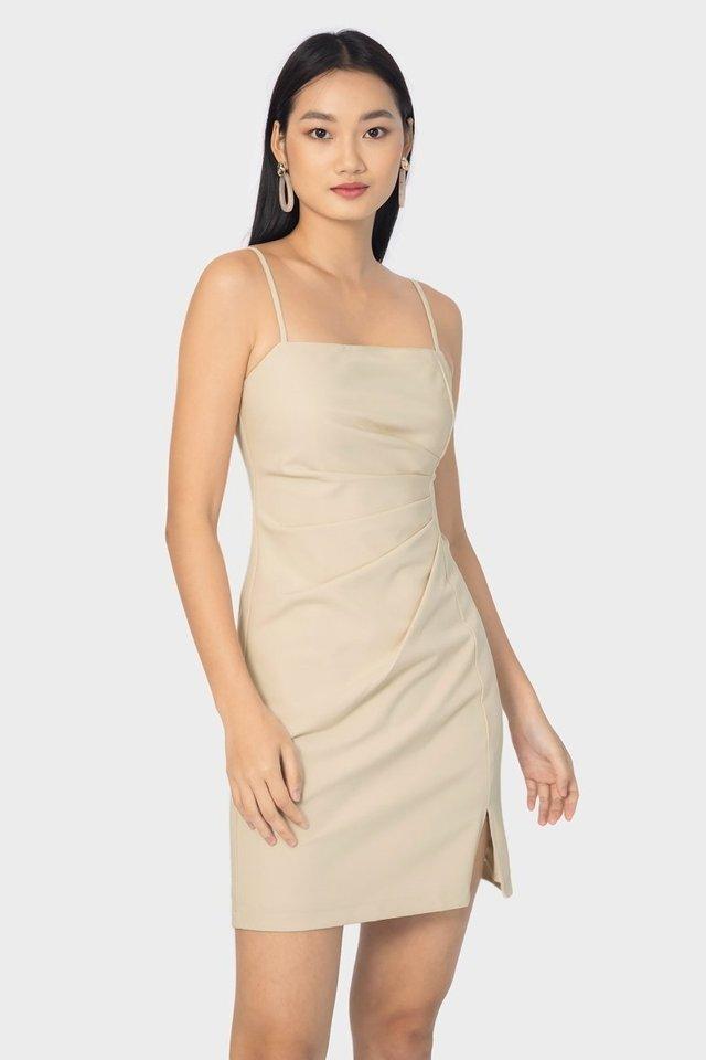 JEANNA RUCHED CAMI DRESS #MADEBYLOVET (SAND)